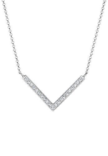 Elli Halskette Damen V-Kette mit Swarovski® Kristalle in 925 Sterling Silber vergoldet