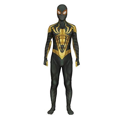 Disfraz de Cosplay de Spiderman, Mono de Cumpleaos para Nios y Adultos, Mono de Carnaval de Navidad, Traje Zentai de Actuacin Escolar,Gold-Adult M (150~165cm)