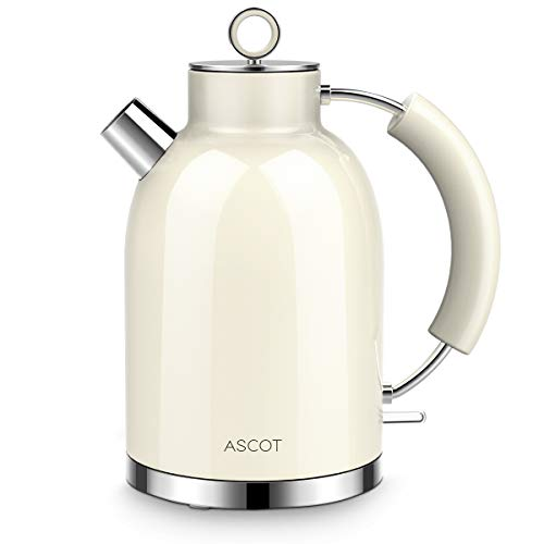 Wasserkocher Edelstahl, ASCOT Elektrischer Wasserkocher, 2200W, 1,6L, Retro Design, BPA frei, leiser Schnellkochkessel, kabelloser Teekessel, Trockengehschutz und automatische Abschaltung, (beige)