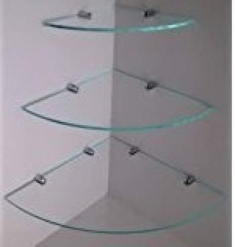 Estantes en esquina y cascada de 6mm de cristal endurecido, con soportes de fijación cromados