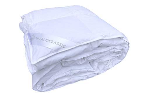 VitaloBett Daunendecke 135 200 600g 100% Daunen, Wärmegrad 2, 6x8 Kassetten, Sommer Bettdecke 135 200 (135x200) (135 x 200 cm)