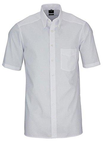 OLYMP Luxor modern fit Hemd Halbarm Button Down Kragen Popeline weiß Größe 46