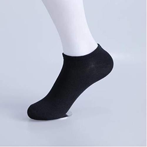 Xiaobing3 paar herensokken, ademende sportsokken, solide kleur boat sokken, comfortabele katoenen enkelsokken, casual sokken -zwart 3 paar C15