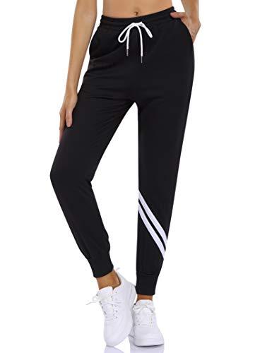KOJOOIN Damen Sporthosen Lange Jogginghose Baumwolle Trainingshose High Waist Sweathose für Jogging Laufen Fitness Sweatpants mit Streifen Schwarz XXL