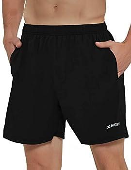 DEMOZU Men s 5 Inch Running Shorts Lightweight Quick Dry Workout Athletic Gym Jogging Shorts with Liner Zipper Pocket Black M