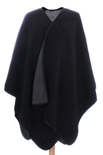 LL Womens Black Charcoal Gray Reversible Fleece Blanket Poncho Button Sleeve