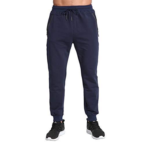 Tansozer Pantaloni Tuta Uomo Cotone Pantaloni Sportivi Uomo Running Jogging Fitness Pantalone Joggers Uomo Slim Fit Felpa Corsa Pantaloni Blu 2XL