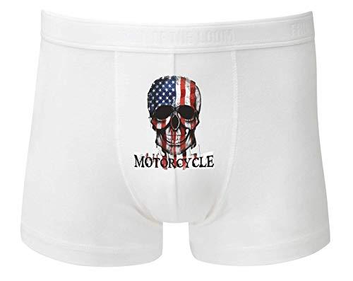 Druckerlebnis24 Boxershort - Totenkopf Motorradfahren Amerika Schädel - Unterhose für Herren und Männer