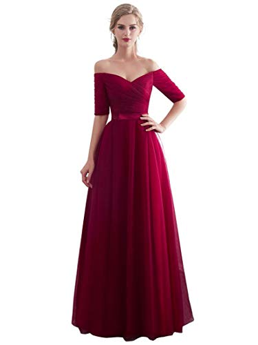Beauty-Emily Cheap Evening Dresses Tulle Long Bridesmaid Dress for Wedding Party Formal Prom Gown Color Burgundy, Size 14-16 (Apparel)