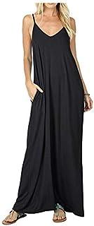 فستان كامي طويل صيفي للنساء كاجوال وفضفاض وبه جيوب منساب للشاطئ