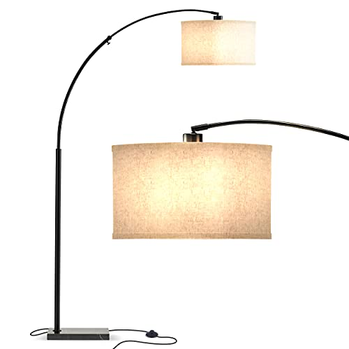 Brightech Logan - Contemporary Arc Floor Lamp w. Marble Base - Over The Couch Hanging Light On Arching Pole - Modern Living Room Lighting Matches Decor & Gets Compliments - Black