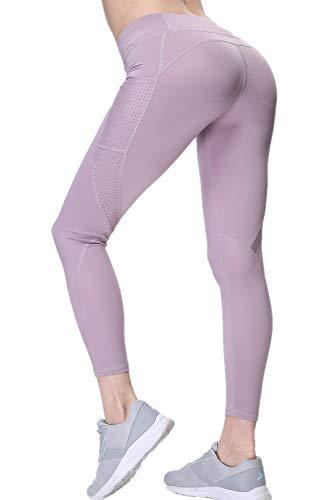 SANMIO Sport Leggings Damen Yoga Hohe Taille mit Taschen Sporthose Blickdichte Jogginghose Fitness Laufhose Neu im Jahr 2019 Rosa Medium