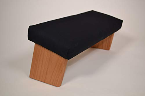 Folding Meditation Bench, Angled Legs (Organic Cotton Black, Standard)