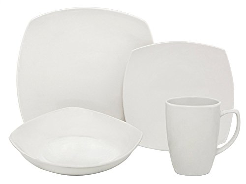 Melange Square 36-Piece Porcelain Dinnerware Set (White) | Service for 12 | Microwave, Dishwasher & Oven Safe | Dinner Plate, Salad Plate & Soup Bowl (12 Each)