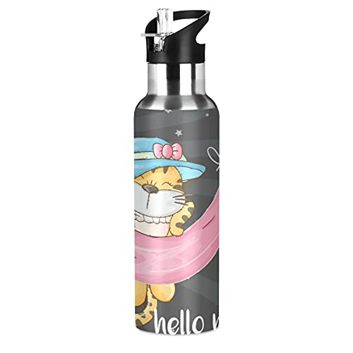 Tigre Bebé De Dibujos Animados Lindo Botella de Agua Deportiva con Pajita Acero Inoxidable, 600ML Botellas Termica Sin BPA para Niños Deporte Gimnasio Ciclismo Escuela