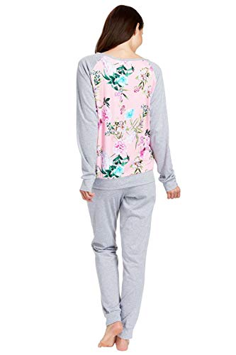 Rösch Damen Flower Market 1183119 Zweiteiliger Schlafanzug, Mehrfarbig (Heather Grey-Multicolor 11886), 38