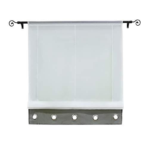 Joyswahl Voile Raffrollo halptransparenter Gardine mit Tunnelzug »Edith« Schals Fenster Vorhänge BxH 80x155cm Grau 1er Pack