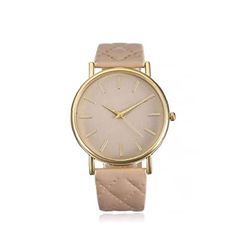 Reloj unisex reloj de cuarzo analógico con brazalete de cuero Simple diseñado reloj de pulsera Reloj casual para hombres mujeres, relojes de mujer