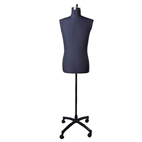 Maniqui Costura Modista Busto Maniquí de costura masculina talla grande, forma de vestido de hombre estable ajustable, espuma de poliestireno ligera, exhibidores de decoración para el hogar de