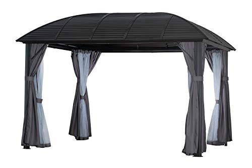 OUTFLEXX Hardtop Pavillon, braun, Aluminium, 300x365cm, inkl. Seitenwände und Insektennetz