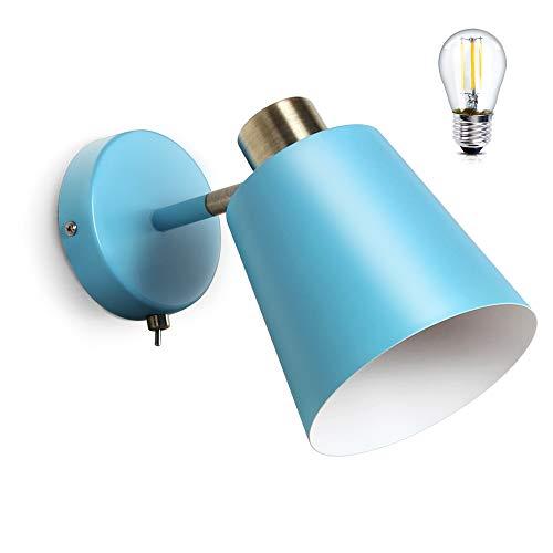 MantoLite Lampade da parete con paralume a cono colorato Lampadine E27 Lampade da comodino Applique decorativa Apparecchio di illuminazione per soggiorno Camera da letto (blu)