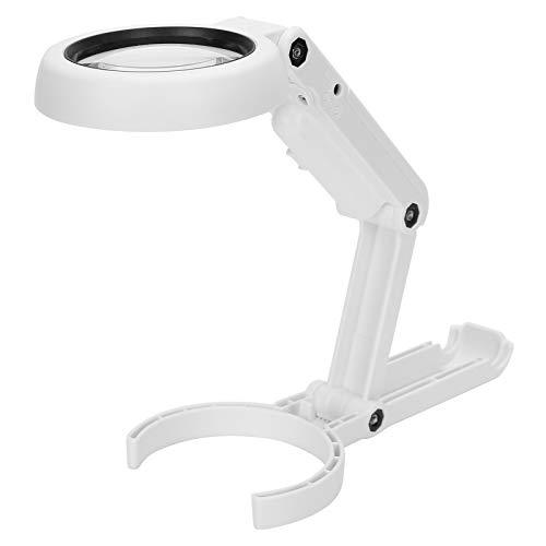 Lupa LED de mano de escritorio 7X, enchufe USB Lupa de lectura de 6 LED con soporte de escritorio para lectura, mantenimiento