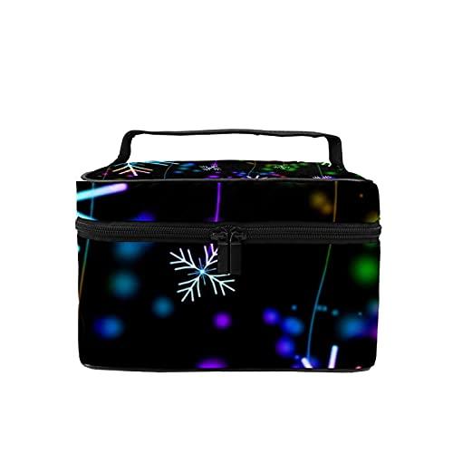 Borsa da viaggio per il trucco, grande, con fiocchi di neve di Natale, colorato per trucchi, organizer con borsa a rete, per donne e ragazze