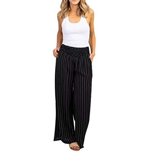 RISTHY Pantalones Mujer Ancho Pierna Rayas Palazzo Cintura Alta Holgados Flojos Suave Casual Verano Pantalones de Oficina para Trabajar Pantalones Premamá Embarazada