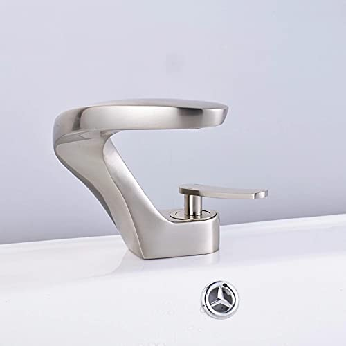 LCBLC Baño Grifo Monomando Para Lavabo Monomando Latón Montado En Cubierta Grifos Para Lavabo Frío Y Caliente Níquel Cepillado
