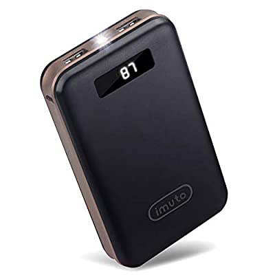 imuto 20000mAh Compact Portable Charger Power Bank External Battery with Smart LED Digital Display Fast Charge Battery Pack for iPhone 11 Pro Max XR XS, iPad, Samsung Galaxy S10, Smart Phones and More