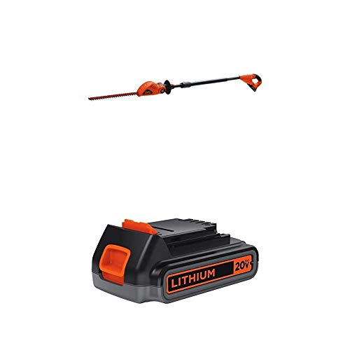 BLACK+DECKER 20V MAX Cordless Pole Hedge Trimmer with Extra Lithium Battery 2.0 Amp Hour (LPHT120 & LBXR2020-OPE)