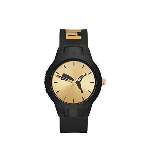 PUMA Women's Reset V2 Polycarbonate Quartz Watch with Polyurethane Strap, Black, 18 (Model: P1059)