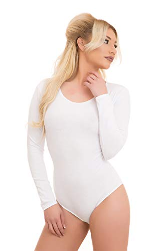 Evoni Damenbody | Overall Bodysuit mit Rundhals für Frauen | Langarm-Body in verschiedenen Farben | Optimale Alternative für Sport & Freizeit | Eleganter Jumpsuit(Large, Weiß)
