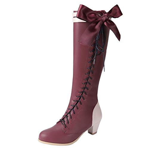 Zanpa Damen Stylish Bogen Lange Stiefel Block Absatz Niedrige Kniehohe Stiefel Schnüren Cosplay Schuhe Kniestiefel Ladies Heels Claret Size 44