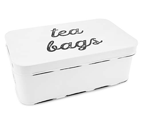 AuldHome Farmhouse Teebeutelbox, Vintage-Retro-Stil, Emaille-Tee-Aufbewahrungsdose