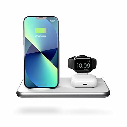 ZENS Qi/MFi Certificato 2x10W Stand+Watch Aluminium Wireless Charger Bianco con modulo di Ricarica Apple Watch (Porta USB-A aggiuntiva, Alimentazione USB-C da 45W con adattatori EU/UK/US Inclusi)
