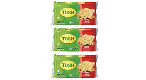 Tosh Sesame Crackers | No Artificial Flavors or Colors | Multi Grain | 8.57 Ounce (Pack of 3)