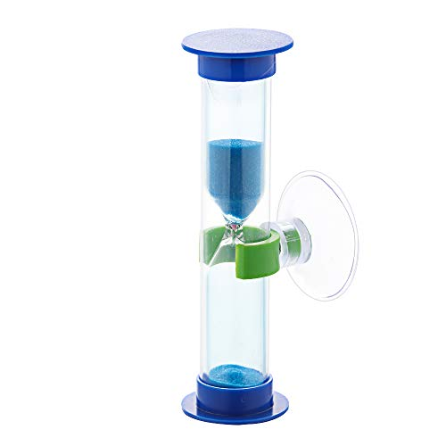 Enness Colorful Sucker Children Tooth Brushing Hourglass Sand Clock Sand Timer 3-Minute(Blue)