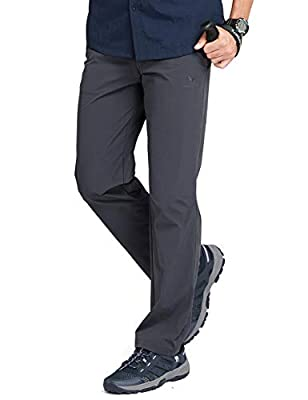 CAMEL CROWN Men's Hiking Pants Waterproof Quick Dry Lightweight,Stretch Slim Fit Pants with Elastic Waistband Dark Grey XX-Large
