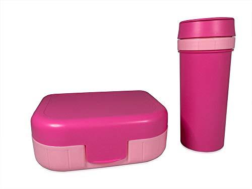 Rotho Memory Kids Set Brotdose mit Trinkflasche in Pink, Kunststoff (BPA-frei), 2er Set