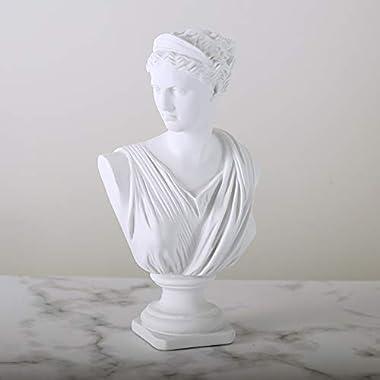 Beonueni 12 Inch Roman Goddess of Wisdom Bust Statue Gypsum Statue Replica Sculpture Figurine Home Decor Resin Crafts for Ske