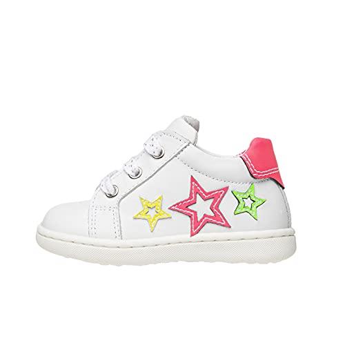 Nero Giardini E018121F Sneakers Baby da Bambina in Pelle E Tela - Bianco 23 EU