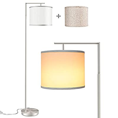 Rottogoon Floor Lamp for Living Room, Modern Tall Standing Lamp with 2 Lamp Shades & 9W LED Bulb for Bedroom, Study, Office, Reading - Silver