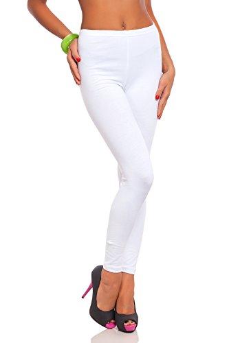 FUTURO FASHION - Damen Leggings aus Baumwolle - knöchellang - weich - Übergrößen - Weiß - 38 Klassische Bundhöhe