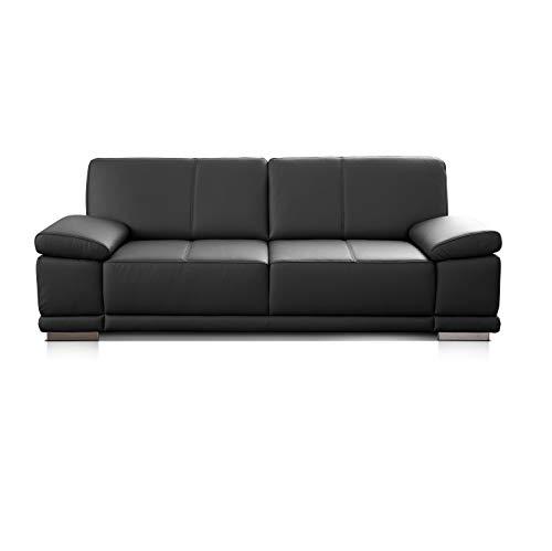 CAVADORE 3,5-Sitzer Ledersofa Corianne / Großes Sofa im Echtlederbezug und modernem Design / Mit verstellbaren Armlehnen / 248 x 80 x 99 / Echtleder schwarz