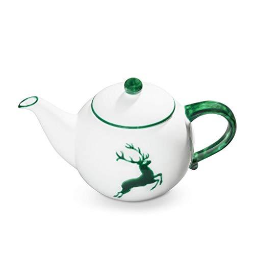 GMUNDNER KERAMIK Teekanne glatt Füllmenge : 1.5 Liter grüner Hirsch Geschirr, handgemacht in Österreich