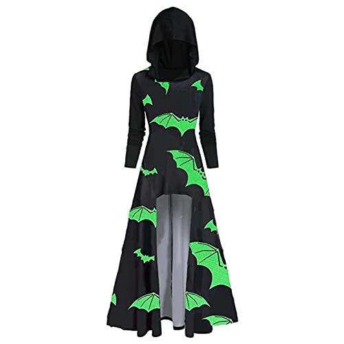 Halloween Kostüm Damen Umhang im gotischen Vintage Stil Kapuzen Cape im Retro 3D Druck Bandage Draw Back Ballkleid Cocktailkleid in Übergröße Party Kleid Abendkleid Cosplay langes Kleid