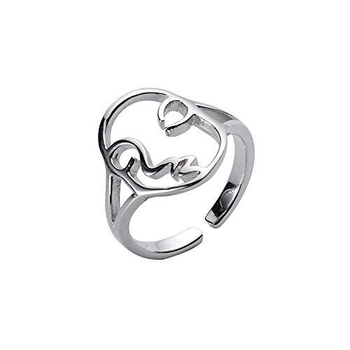 Urocza ludzka twarz srebro Sterling otwarte pierścienie do układania w stosy dla kobiet dziewcząt regulowany pasek na palec kciuk oświadczenie obietnica wieczności pierścionek zaręczynowy prezenty urodzinowe