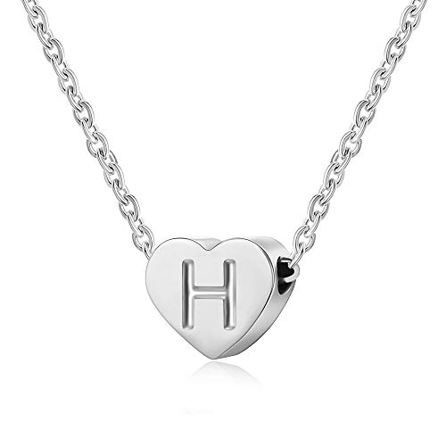 AFSTALR Letter Initial Necklace Girls Women Silver Personalized Tiny Initial Alphabet Love Choker Necklace Gifts, Silver Letter H Necklace
