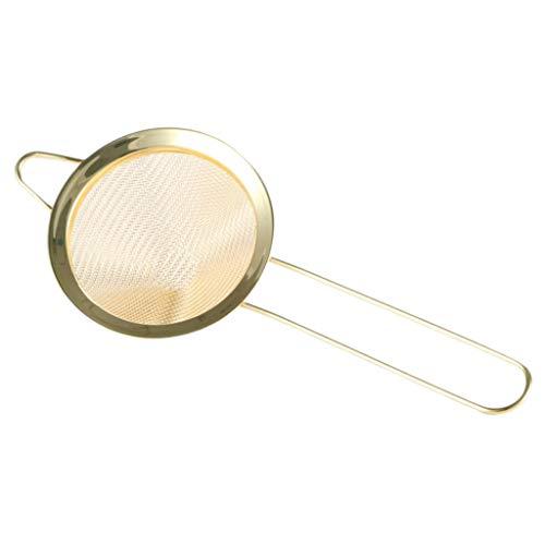 HomeDecTime Edelstahl Küchensieb Nudelsieb Frittieren Löffel Fein Schaumlöffel Abtropfsieb - Golden
